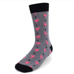 Men's Novelty Crew Socks - Flamingo - Grey