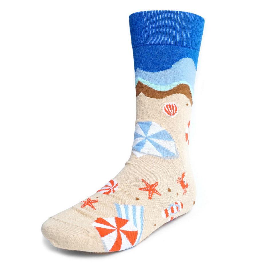 Men's Novelty Crew Socks - Summer Beach - Blue Top