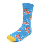 Men's Novelty Crew Socks - Flamingo - Blue