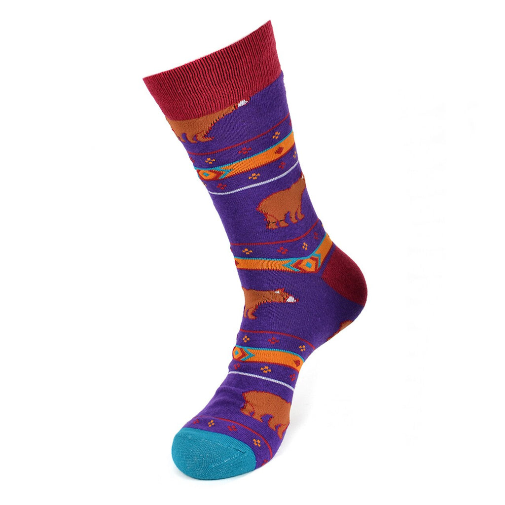 Urban-Peacock Men's Novelty Crew Socks - Bear - Purple