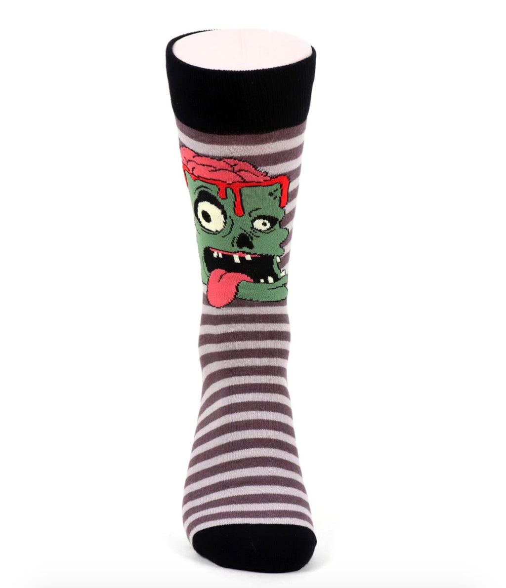 Urban-Peacock Men's Halloween Novelty Socks - Zombie - Grey Striped