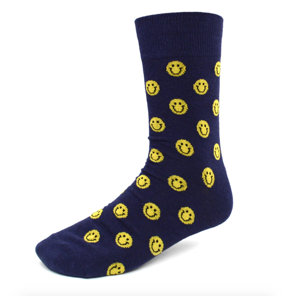Urban-Peacock Men's Novelty Fun Crew Socks - Smiley Face Emoji - Navy