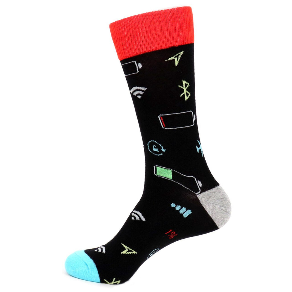 Urban-Peacock Men's Novelty Crew Socks - Smartphone - Black