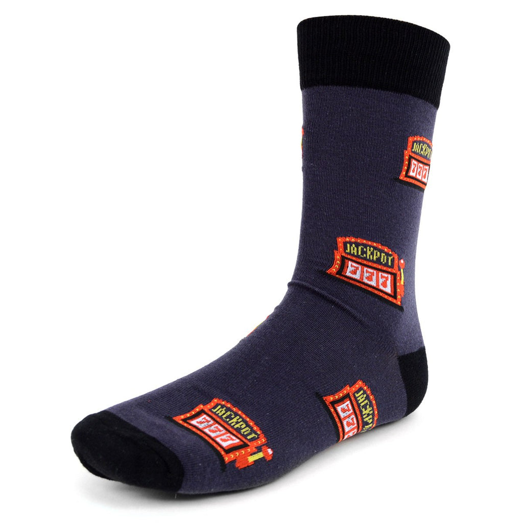 Urban-Peacock Men's Novelty Crew Socks - Jackpot - Dark Grey with Black