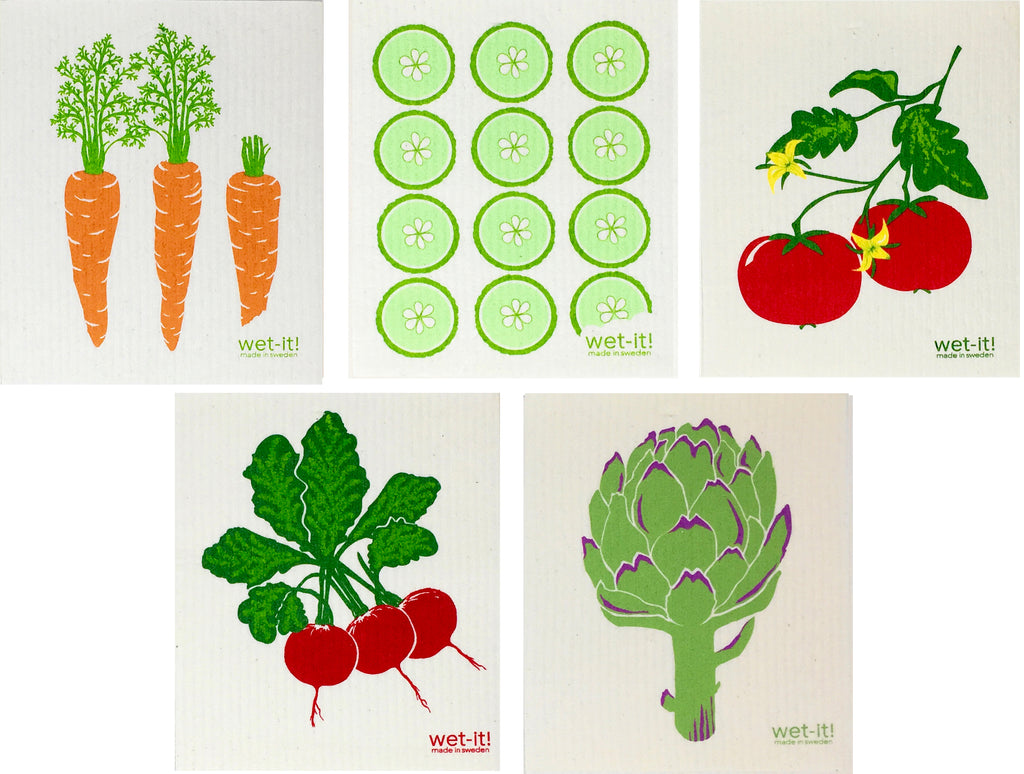 Swedish Treasures Wet-it! - 5 packs - Carrots, Cucumbers, Tomato, Radish & Artichoke
