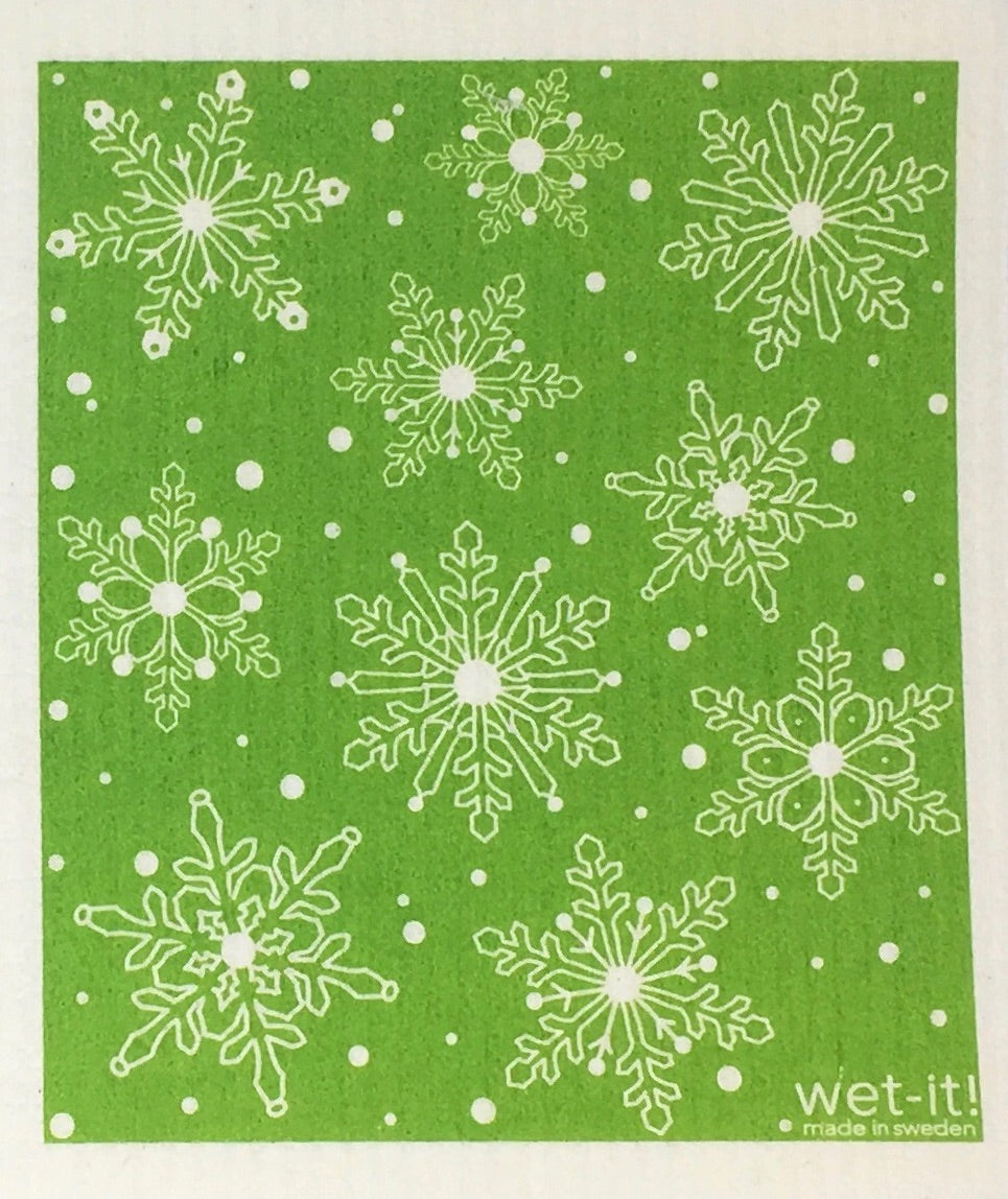 Swedish Treasures Wet-it! Dishcloth & Cleaning Cloth - Winter Snow - Green