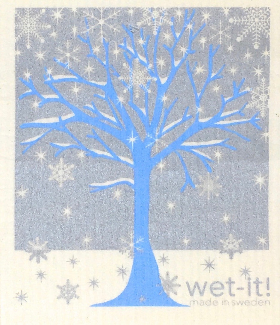 Swedish Treasures Wet-it! Dishcloth & Cleaning Cloth - Winter Tree Blue