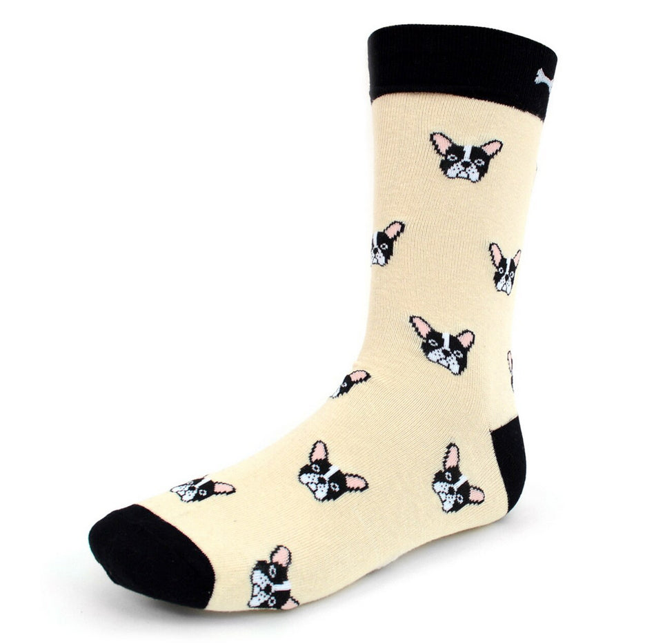 Men's Novelty Crew Socks - French Bulldog - Beige
