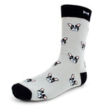Men's Novelty Crew Socks - French Bulldog - Grey