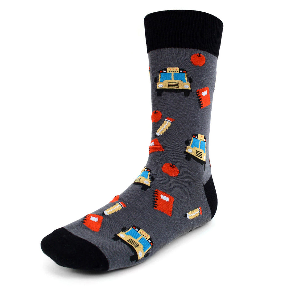 Men's Novelty Crew Socks - School Teacher Buses - Grey