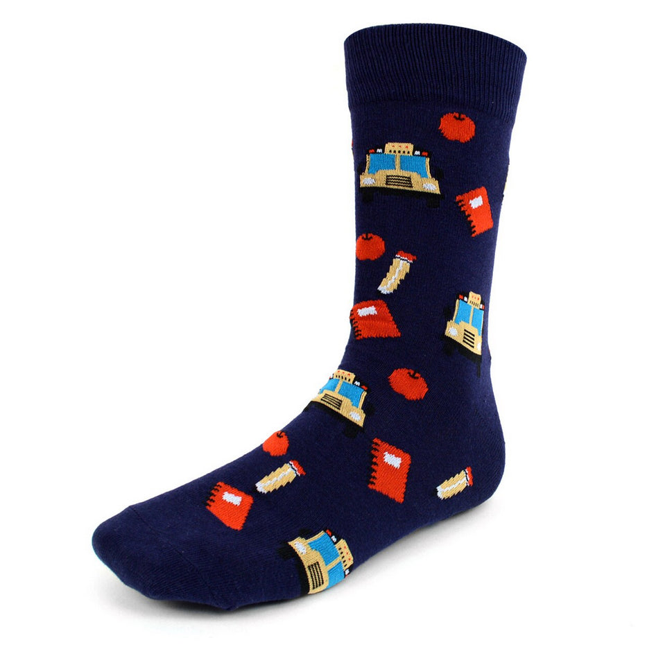 Men's Novelty Crew Socks - School Teacher Buses - Navy