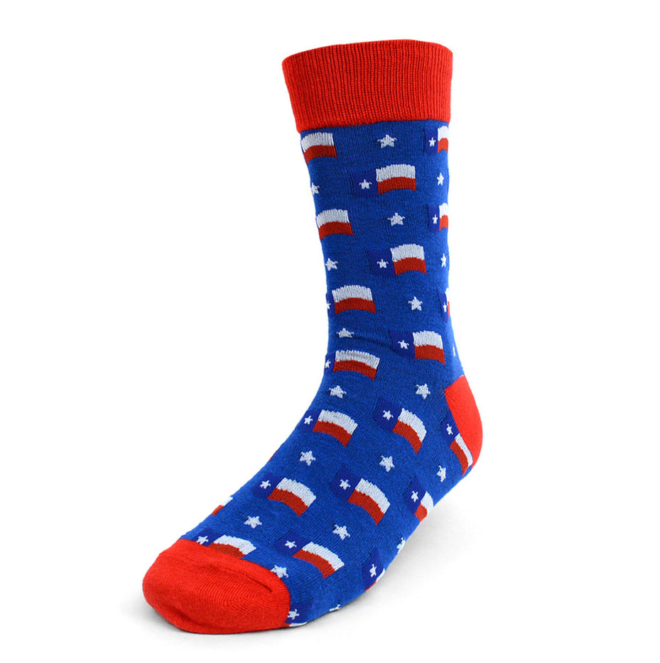 Men's Novelty Fun Crew Socks - Texas State Flag