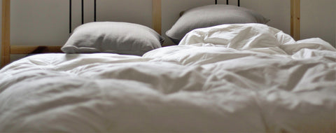White Duvet with 2 Grey Pillows on Bed