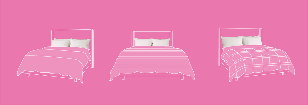 3 beds with duvets on a pink background