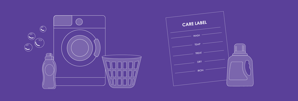washing machine, care label and detergent on purple background