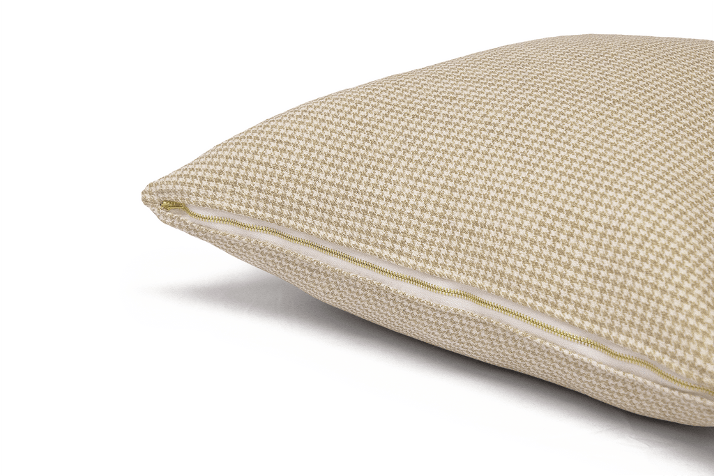 Oat Houndstooth Cushion Cover