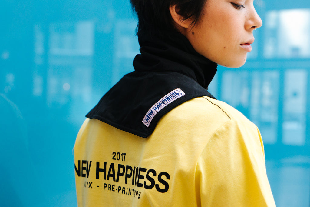 Alyx Studio Pre-Spring 2017: New Happiness S/S Tee in Yellow, Neck Warmer in Black