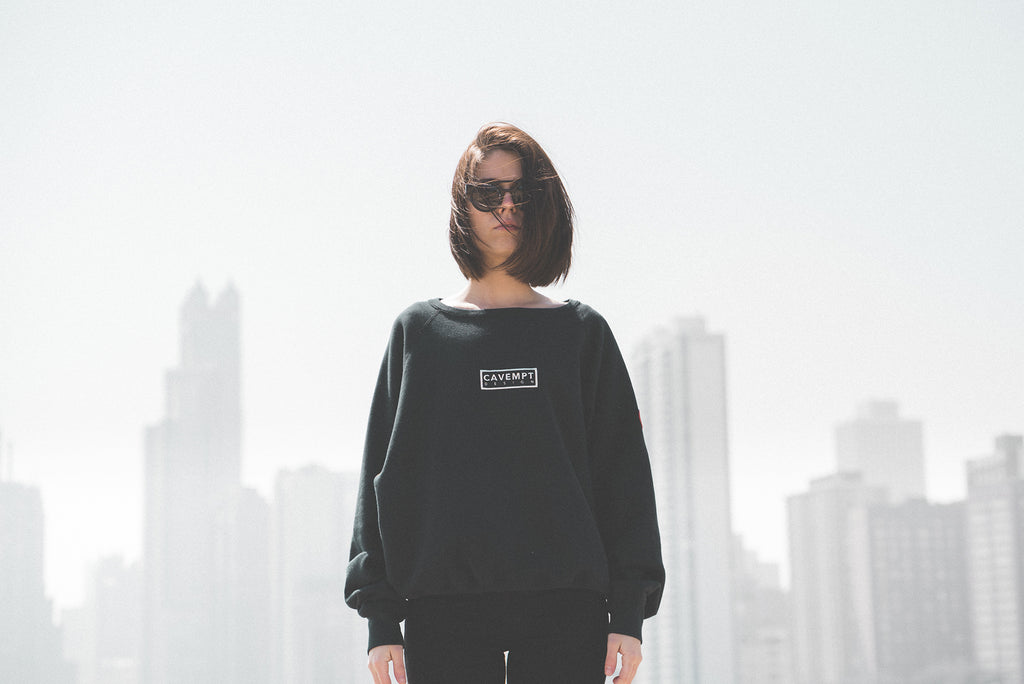 Front Shot of Model wearing Cav Empt Sweatshirt