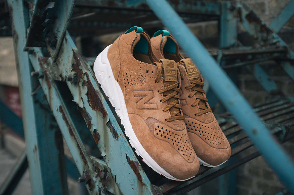 New Balance Deconstructed 580 in Tan Outdoor Ladder Shot