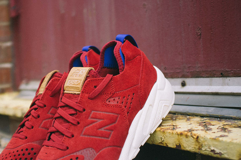New Balance Deconstructed 580 in Red Outdoor Pair Shot