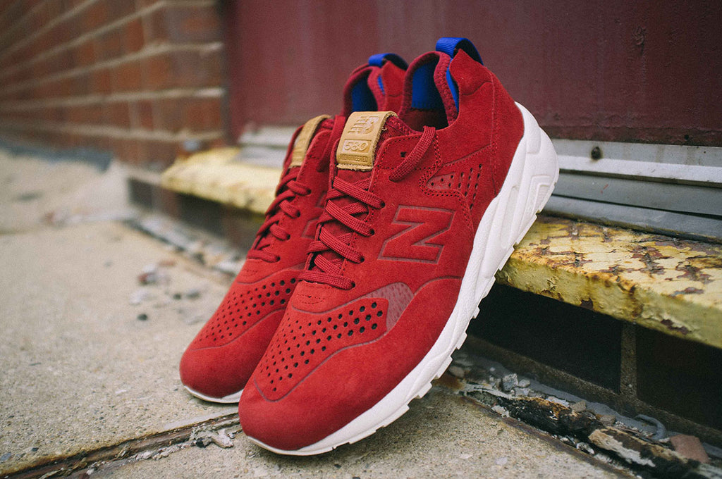 New Balance Deconstructed 580 in Red Outdoor Shot