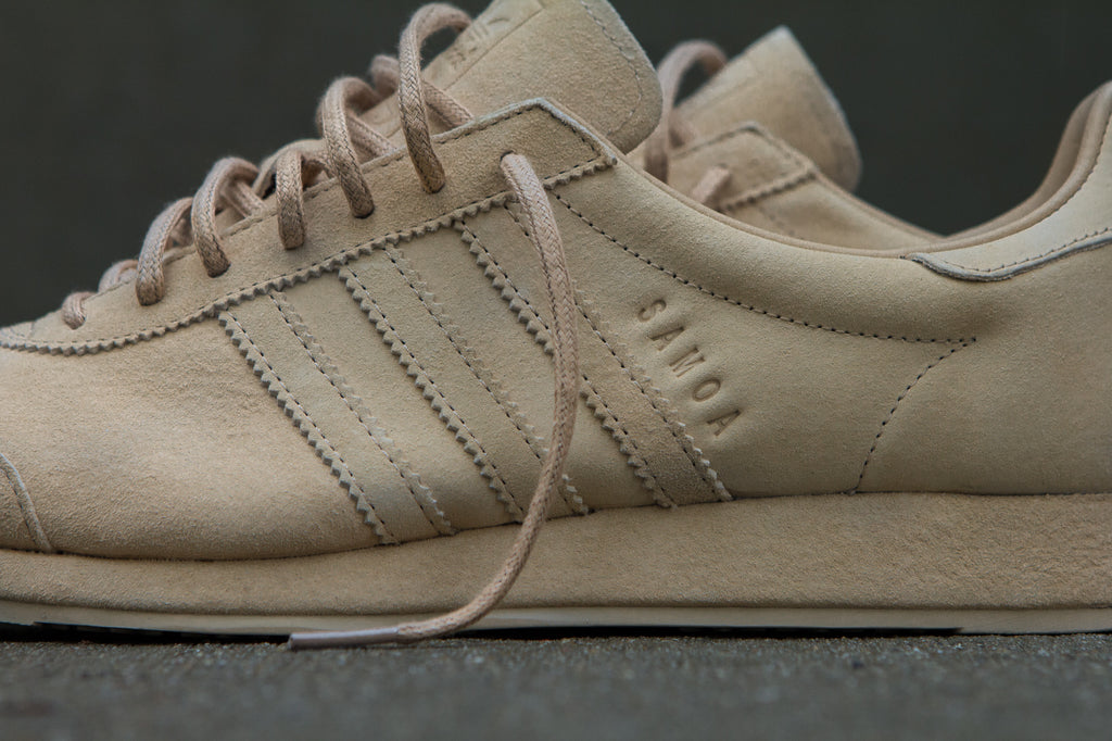 Adidas Originals x Woodie White Samoa 'Pigskin Pack' - Pale Nude Closeup