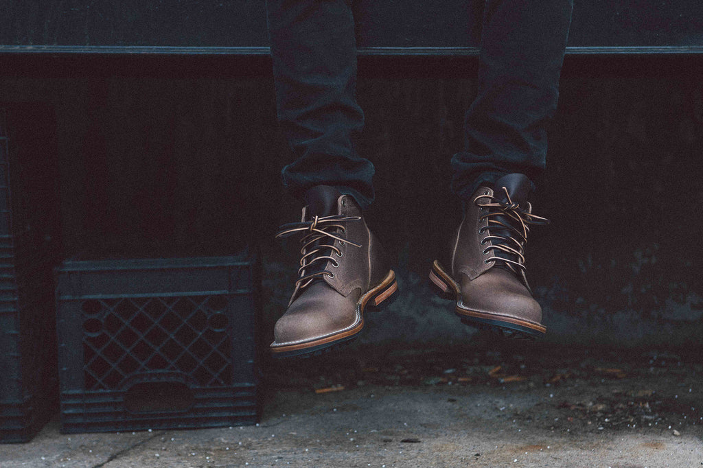 Outdoor front shot of Viberg Service Boot in Natural Waxed Flesh Commando Sole