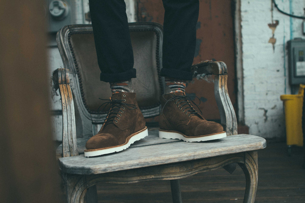 Notre x Viberg Service boot in Snuff Brown calf suede on chair