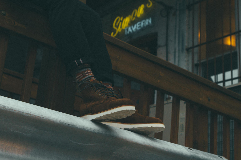 Viberg x Notre Service Boot in Snuff Brown Calf Suede on Ledge