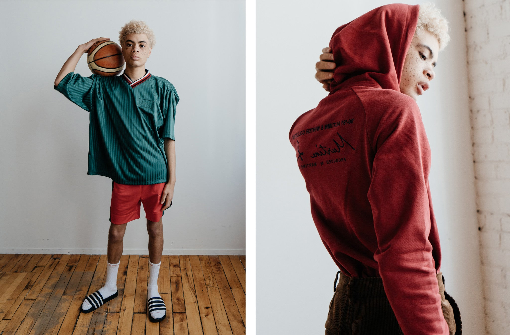 Martine Rose SS'17 - Sports Top in Green Stripe, Long Sport Shorts in Red/Green & Classic Hoody in Red