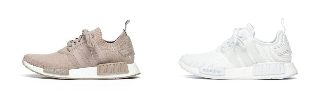 adidas NMD R1 Primeknit Beige and NMD R1 Triple White