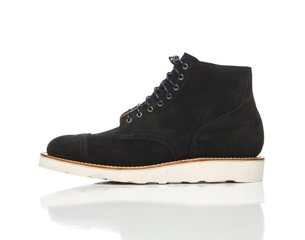 Viberg Service Boot in Black Calf Suede