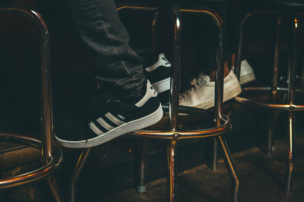 adidas campus shoes shot at bar