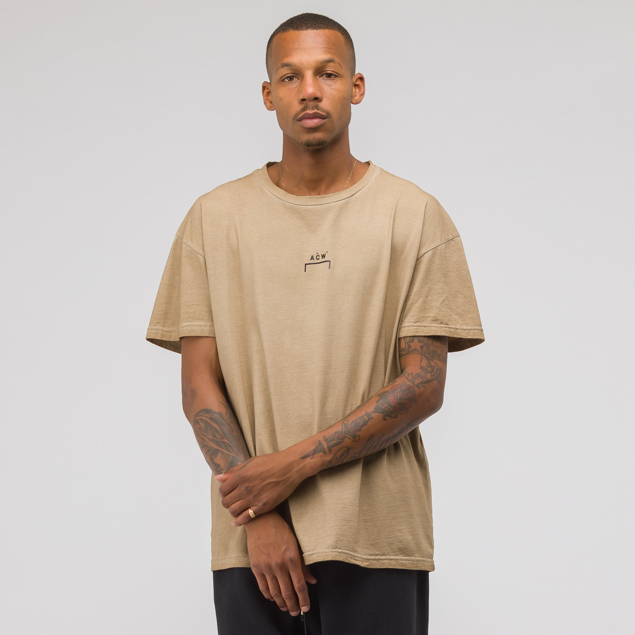 ACW Bracket Logo T-Shirt in Tan