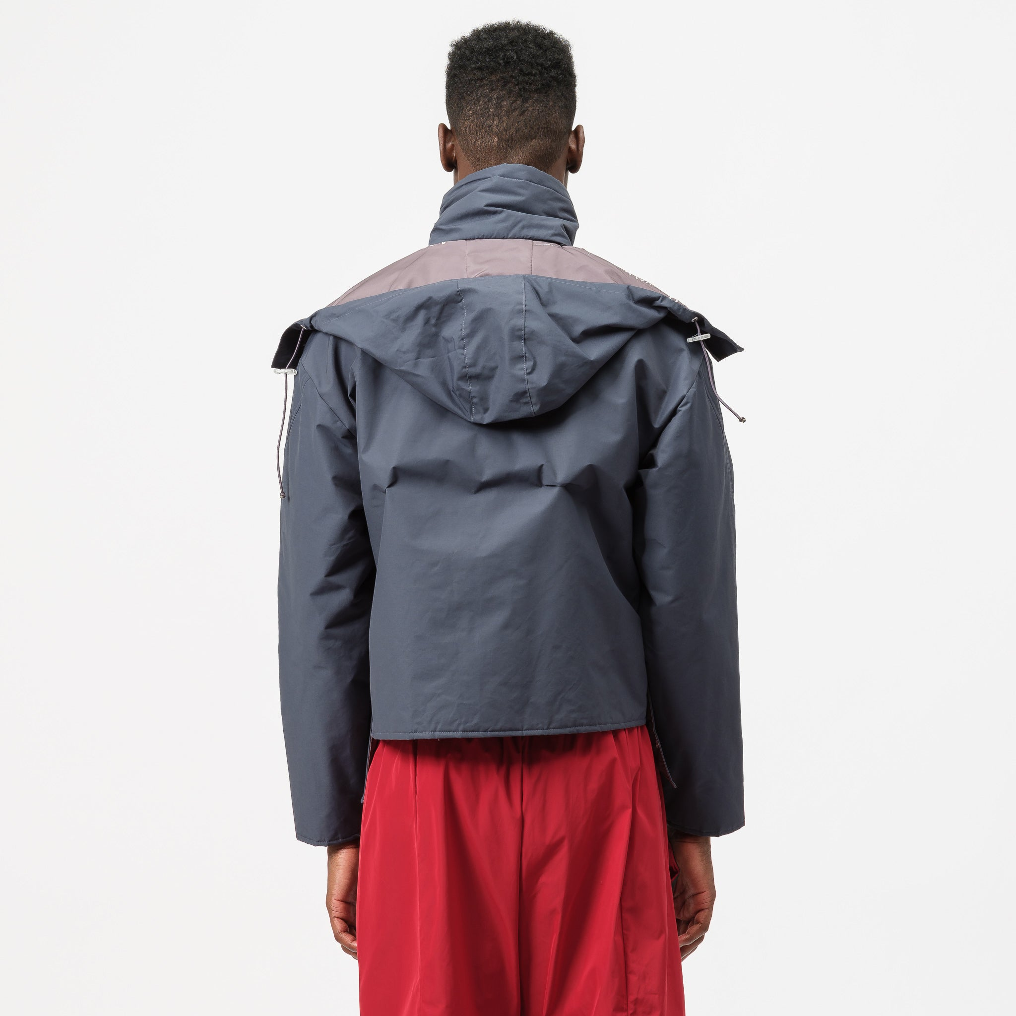 Funnel Neck Jacket with Hoodie in Blue