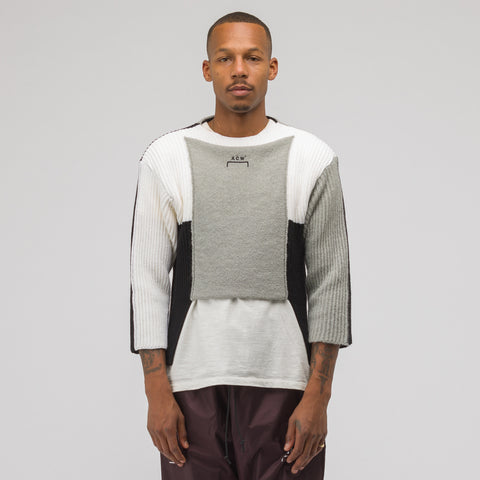 A-COLD-WALL* Multipanel Knit Sweater in Black/Grey/Cream - Notre