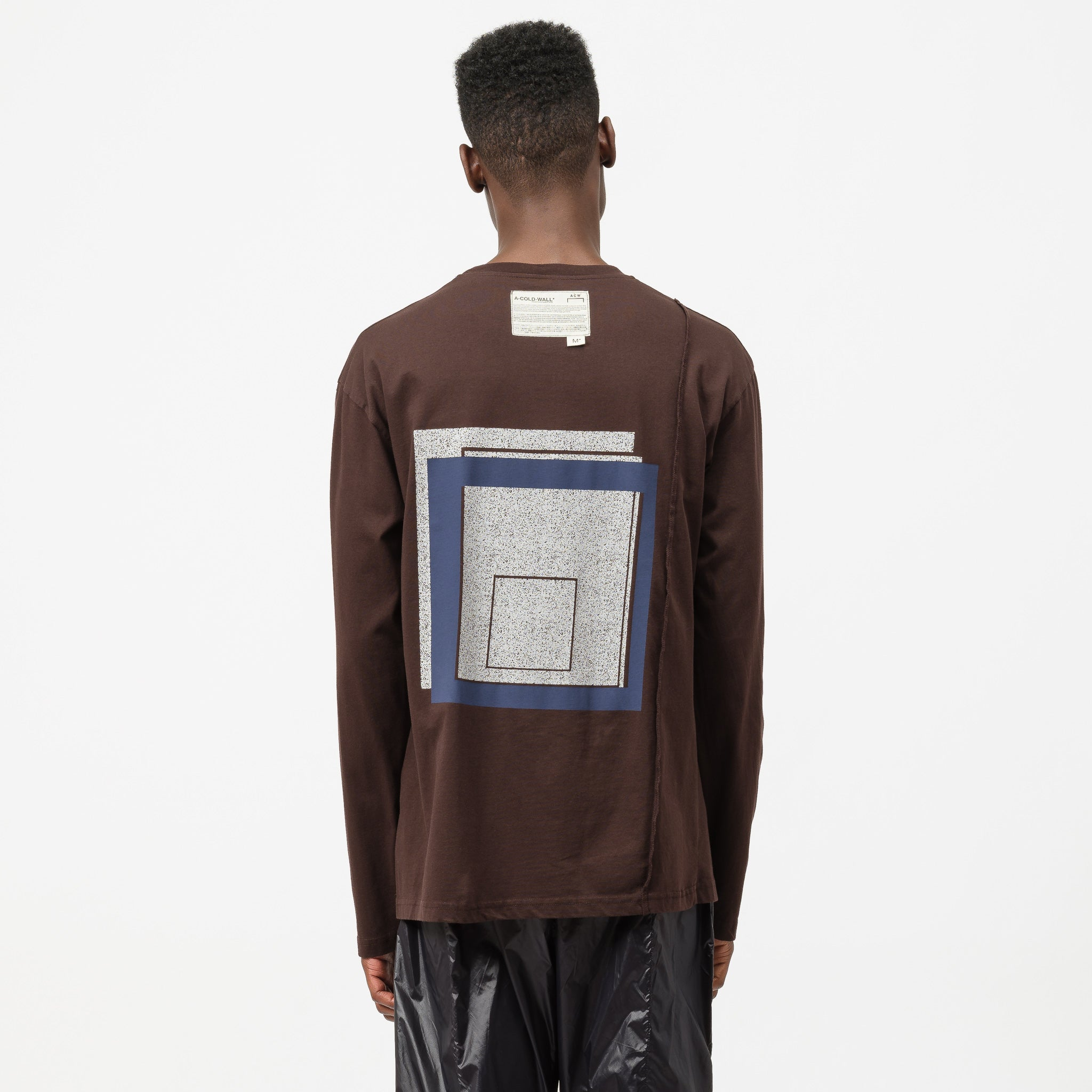 Removable Albers Long Sleeve T-Shirt in Wine/Beige