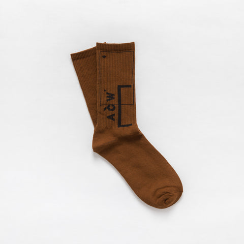 A-COLD-WALL* Classic Logo Socks in Brown - Notre