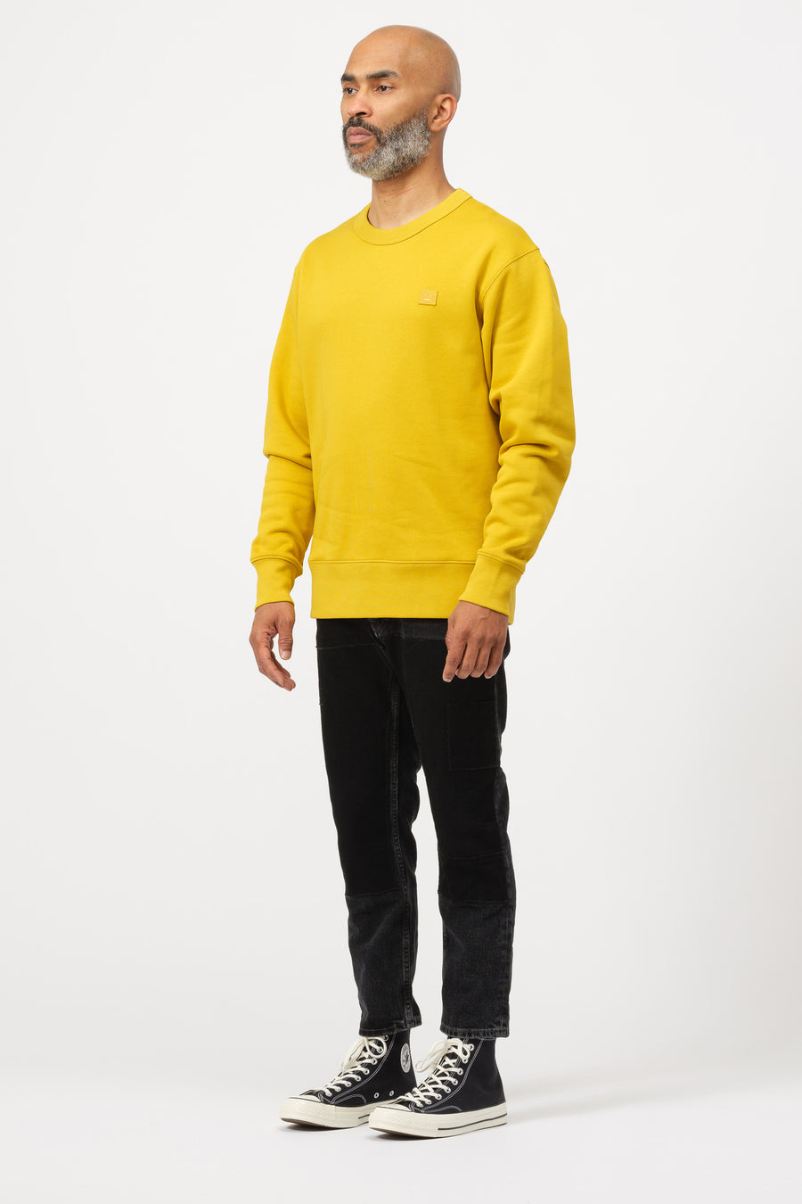 Acne Studios Fairview Face Crewneck in Amber Yellow - Notre