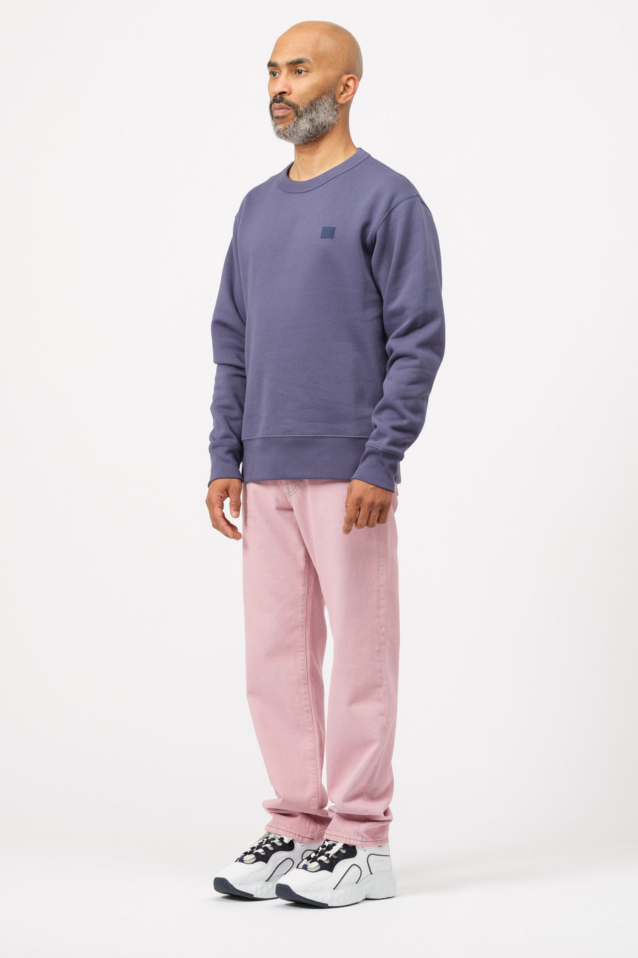 Acne Studios Fairview Face Crewneck in Denim Blue - Notre