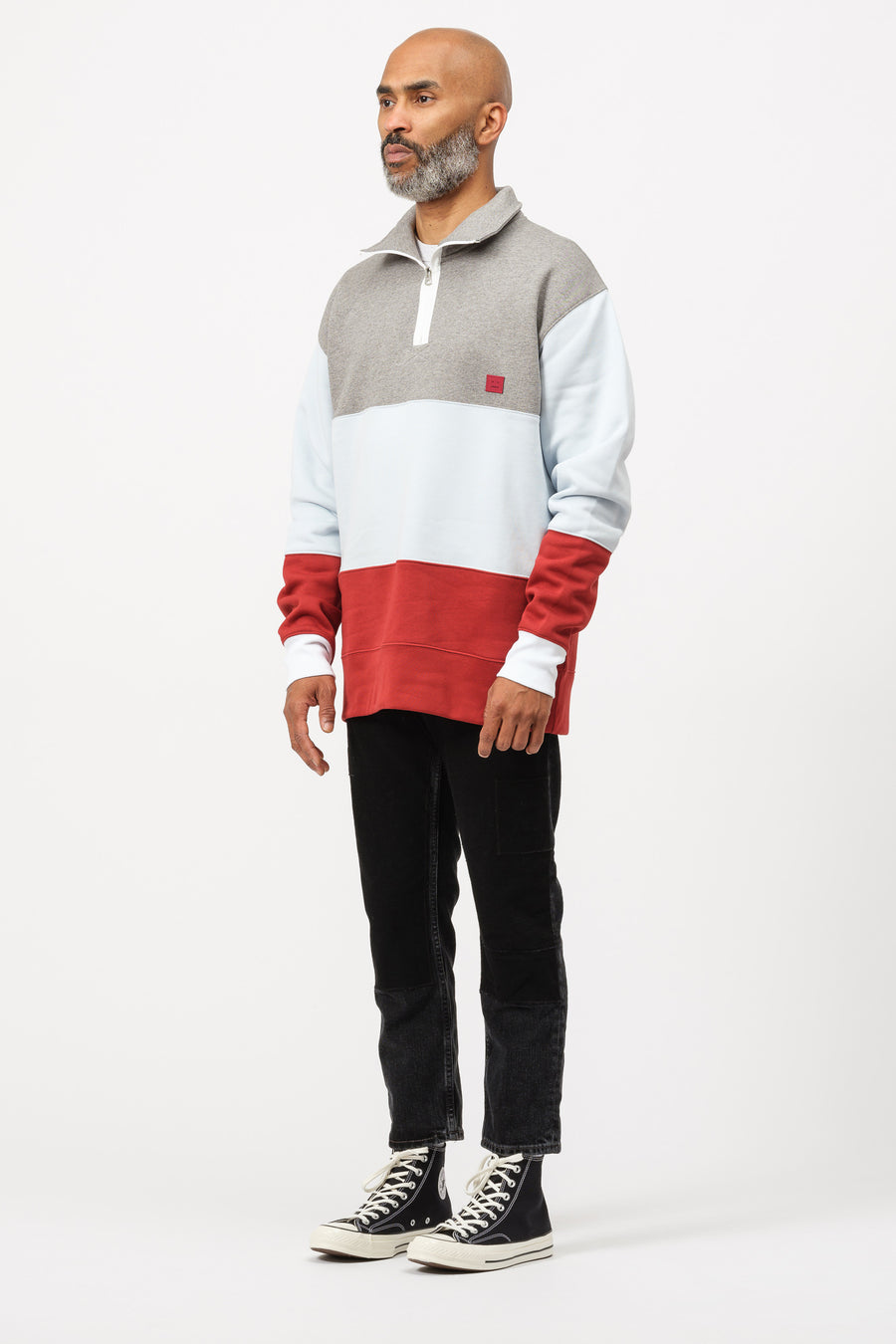 Acne Studios Flint Flag Fleece in Light Grey Melange - Notre