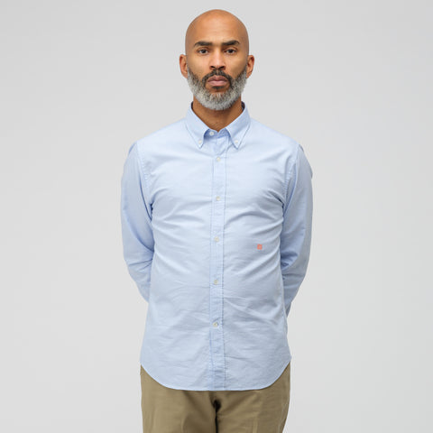 Acne Studios Ohio Face Button Down in Light Blue/Pink - Notre