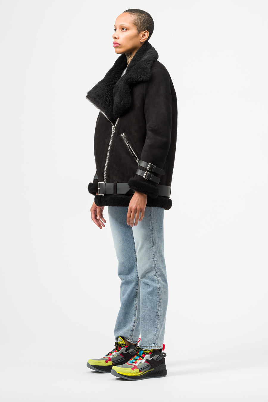 Acne Studios Velocite Suede Jacket in Black - Notre