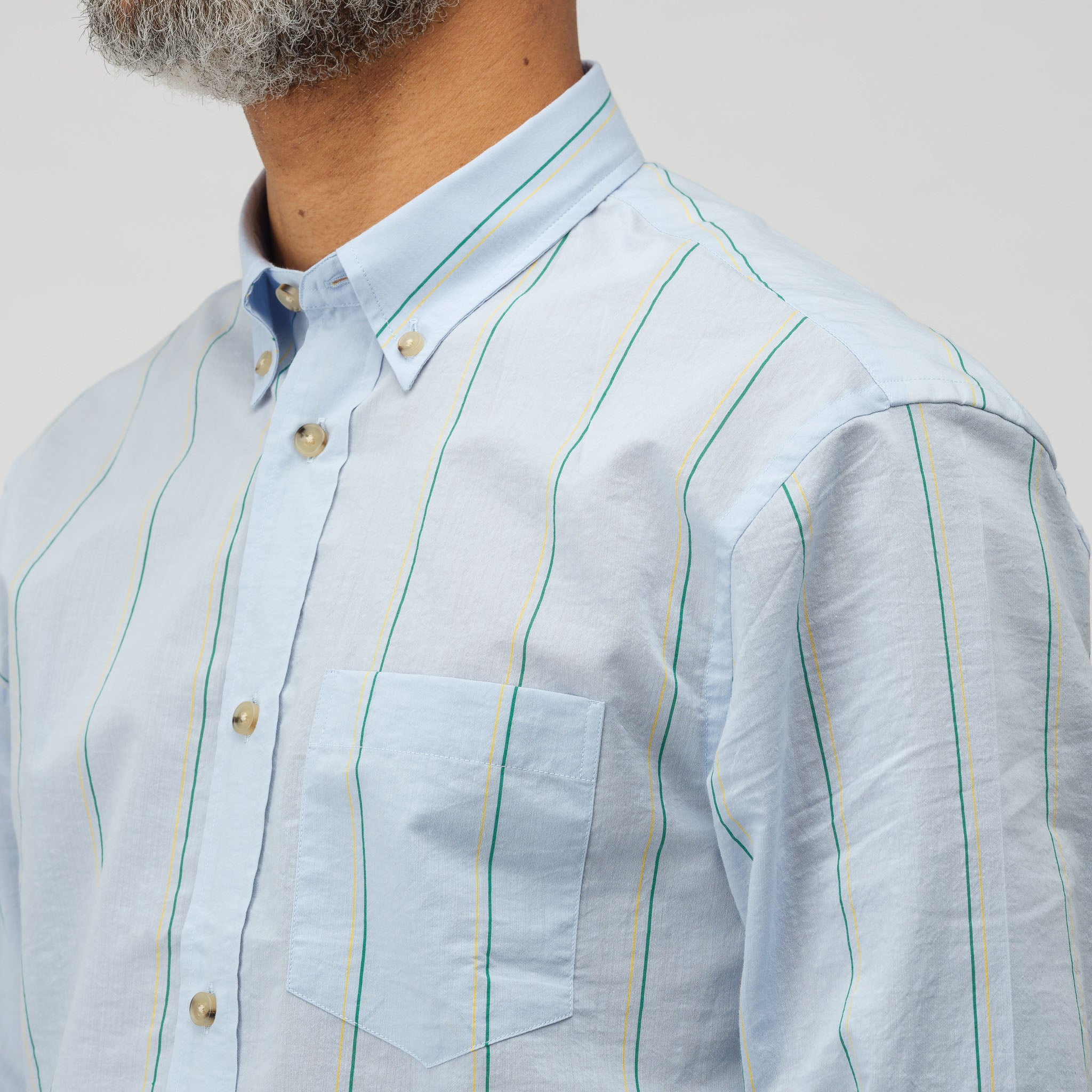 Sarkis Button Down in Pale Blue/Green