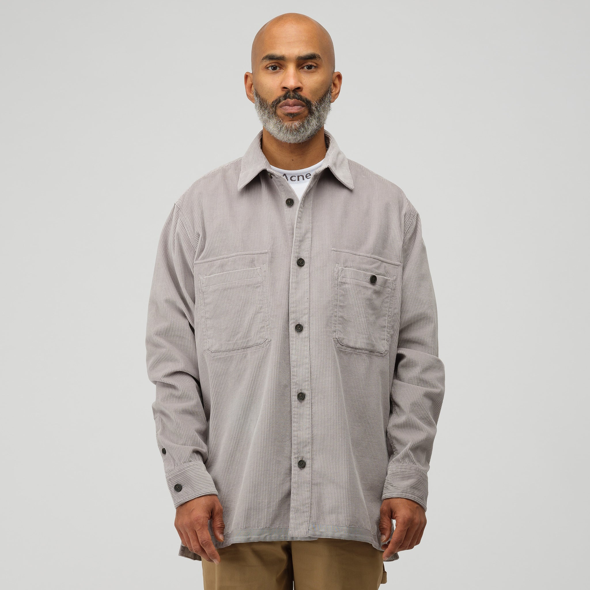 Sigurd Wide Corduroy Shirt in Light Grey