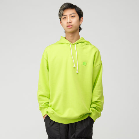 Acne Studios Face Hooded Sweatshirt in Lime Green - Notre