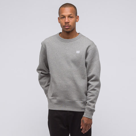 Acne Studios Fairview Face Crewneck Sweatshirt in Light Grey Melange - Notre