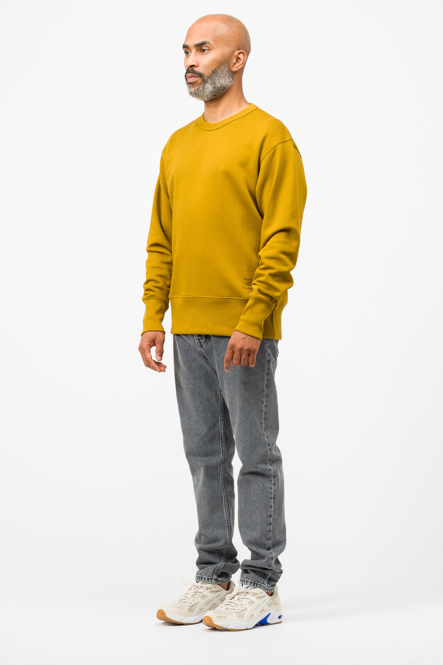 Acne Studios Fayze Logo Crewneck in Oil Yellow - Notre