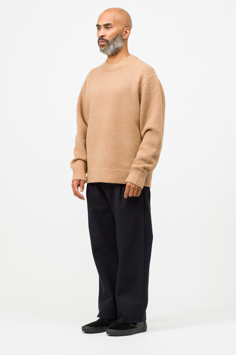 Acne Studios Kael Cashmix Knit Sweater in Light Brown - Notre