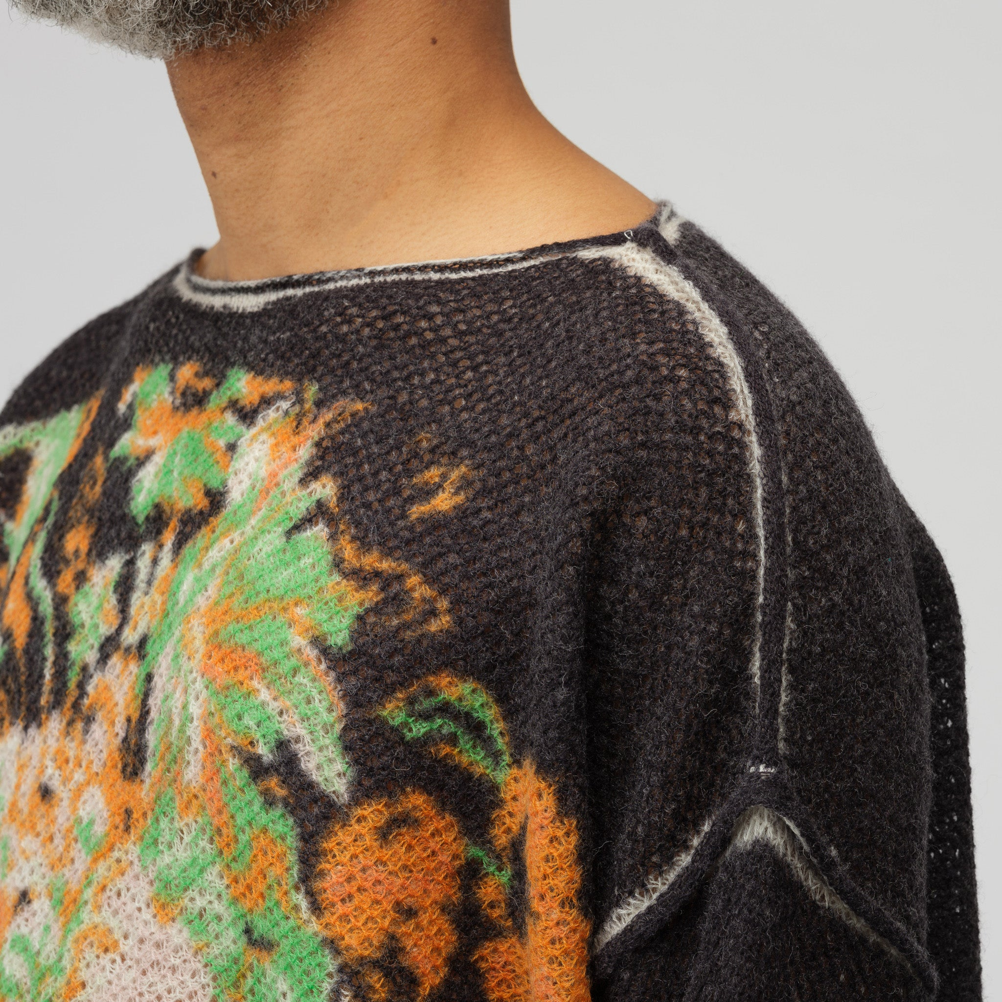Kameron Wool Lace Knit Sweater in Black
